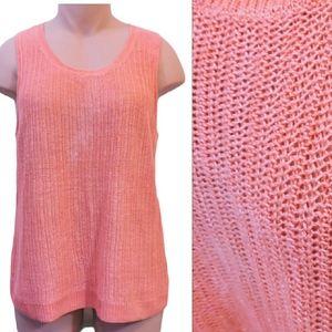 Talbots knit orange 100% Linen vest size XLarge